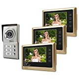 Kit Videocitofono, Videocitofono Trifamiliare 7 Pollici LCD Campanello con Telecamera Visione Notturna Impermeabile per Appartamento
