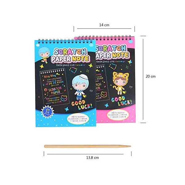 HellDoler Manualidades para Niños,Manualidades para Rascar Scratch Art 4 Cuadernos para Dibujar Papel de Rascar Incluye 4 Lápices de Madera