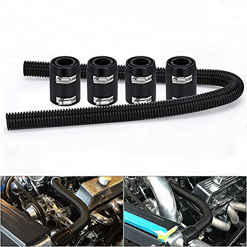 WENJTP Universal 48-inch Radiator Hose Kit, Stainless Steel Heat Dissipation Hose Kit with 4 Chrome Caps,(Black)