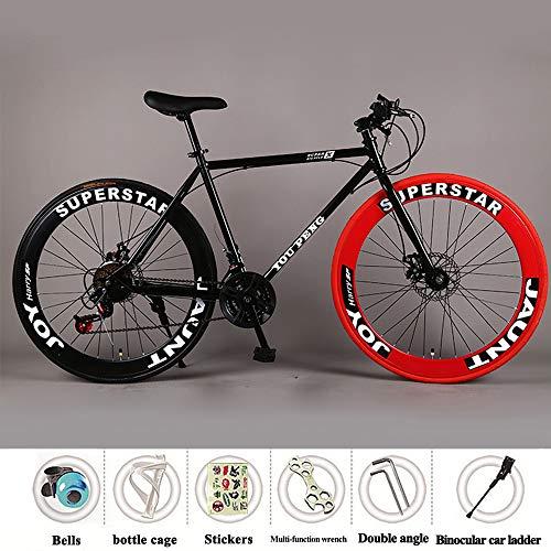 Bicicleta De Montaña Engranaje Fijo Bicicleta De Carretera Velocidad Frenos De Doble Disco Hombres Y Mujeres 60 Cuchilla Rueda Estudiante Adulto,Rojo