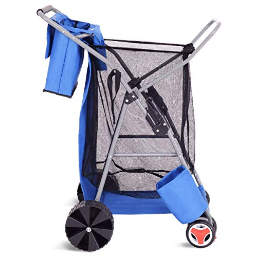 Wonder Wheeler Beach Cart, Ultra Wide Wheels Deluxe Folding Utility Beach Cart w/Removable Utility Bag