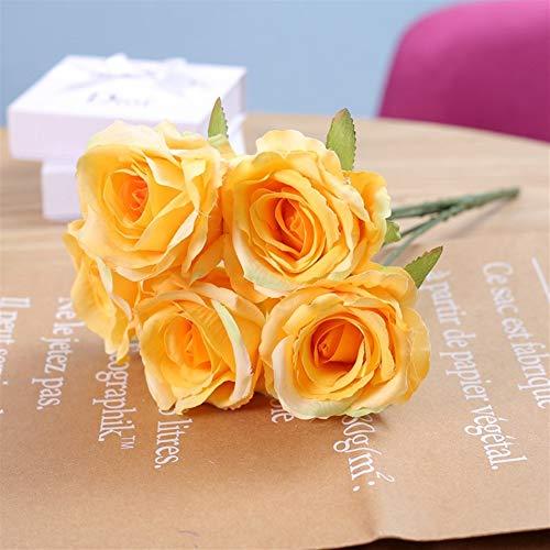 SOQHD Künstliche Blumen, gefälschte Blumen Silk künstliche Rosen 5 Köpfe Braut Hochzeit Blumenstrauß for Hausgarten-Partei-Hochzeit Dekoration (Color : Yellow)