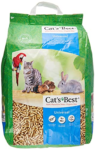 Cat's Best Arena para Gatos Universal 20L (11 kg). Arena para Pájaros, Conejos Biodegradable Sin Polvo. Lecho para Conejos Ecológico de Fibra Vegetal.