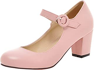 SHANLEE Women's Mid Block Heel Mary Jane Ladies Ankle Strap Office Work Pump Court Shoes