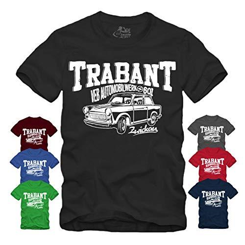 Trabant Zwickau - T-Shirt VEB 2 Takt Racing Trabant 601 DDR IFA Trabbi Ossi (XXL, Grau)