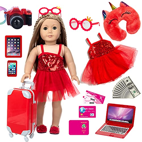 XFEYUE 18 inch American Doll Clothes and Accessories - Suitcase Travel Luggage Play Set, Including Doll Clothes, Sunglasses, Camera, Computer, Mobile Phone, Unicorn Pillow Fit 18 inch Girl Doll