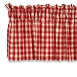 Cackleberry Home Red and Cream French Check Valance Curtain Woven Cotton Jacquard Lined 54 Inches W x 17 Inches L