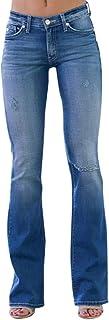 HOUMENGO Mujer Vaqueros Acampanados Pantalones Largos Elástico Cintura Alta Retro Flared Jeans