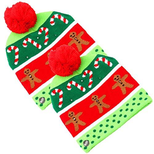 Wsaman 2 Pack Gorro NavideñO con Luz Led, Luces Intermitentes Led De Colores Unisex Novedad Gorro De Punto De Papá Noel para El Vestido De FantasíA De Santa Claus Secreto,2