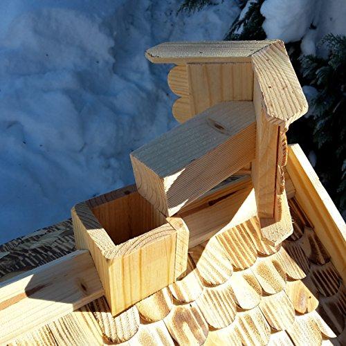 Vogelhaus-XXL mit Holzschindeln und Putzklappe lasiert Vogelhäuser-Vogelfutterhaus großes Vogelhäuschen-aus Holz Wetterschutz (Natur) - 4