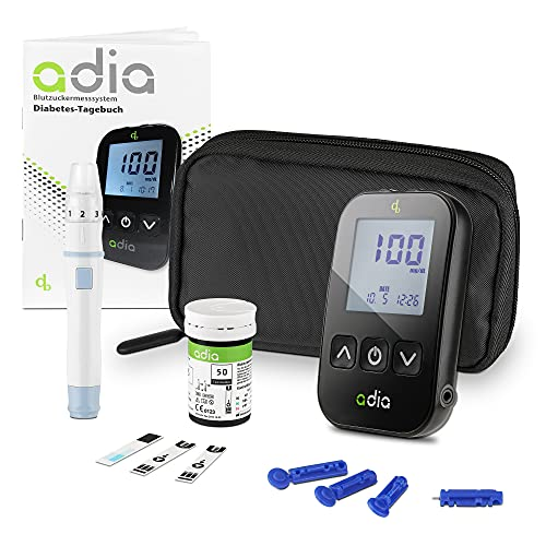 Glucómetro adia (mg/dl) incl. 10 tiras reactivas para diabéticos para controlar la glucosa en sangre en la diabetes