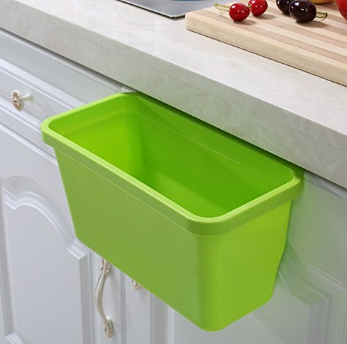 Liyhomez Pack of 2 Over The Cabinet Basket Wastebaskets, Multifuctional Hanging Trash Can Waste Bins Garbage Containers (Green, Blue, )