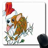 Alfombrillas para computadoras Jadeo Corgi Vida Salvaje Linda Navidad Vacaciones Luces para Perros Enredados Merry Welsh Design Paws Alfombrilla de ratón Antideslizante Oblong Gaming