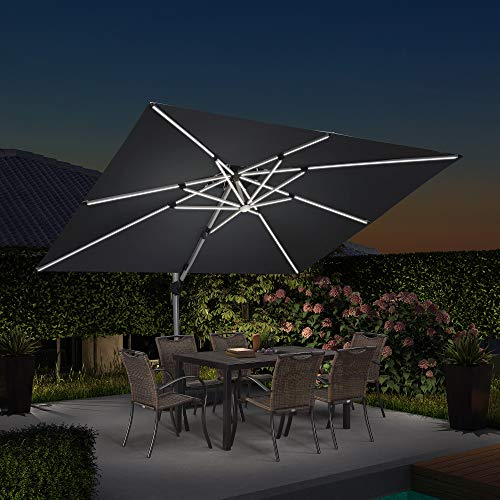 PURPLE LEAF 9' X 12' Double Top Deluxe Solar Powered LED Rectangle Patio Umbrella Offset Hanging Umbrella Outdoor Market Umbrella Garden Umbrella, Grey