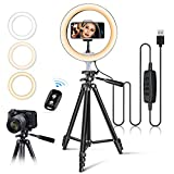 10' USB Selfie LED Ring Light with 50' Extendable Tripod Stand & Flexible Phone Holde for Live Stream/Makeup, Camera, YouTube Video Photography, Compatible with iPhone/Android