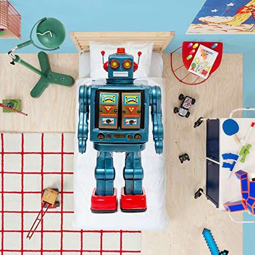 BBUY Ropa de cama infantil, 135 x 200 cm, ropa de cama 3D, diseño de coche de carreras, robot soldado guerrero