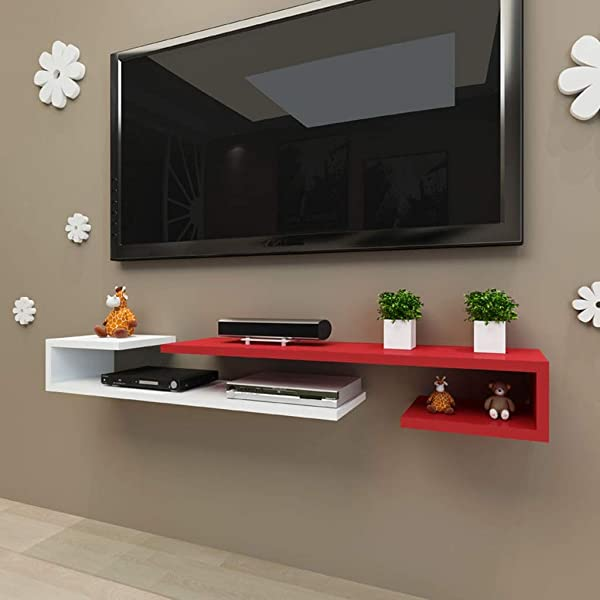 Wall Mounted Floating Shelf Wall Mounted Media Console Floating TV Rack Assembly Rack Set Top Box Rack Wall Mounted TV Cabinet Small Flat Wall Cabinet Color Red White Size 1252413cm