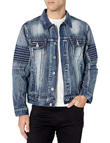 Southpole Men's Premium Fashion Denim Jacket, Ice Blue Biker, Large