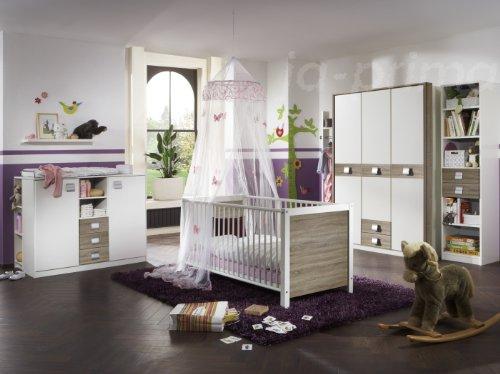 Babyzimmer Kinderzimmer Schrank Wickelkommode Bett Sägerau Jette 5-teilig