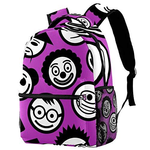 Duffle Backpack Cute Emoji School Backpack Large Capacity Casual Backpack Lightweight Waterproof Knapsack for Teens Girls Boys 11.5x8x16 in
