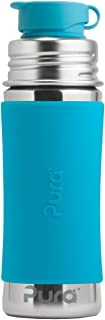 Pura 11 OZ/325 ML Stainless Steel Kids Sport Bottle with Silicone Sport Flip Cap & Sleeve (Plastic Free, Nontoxic Certified, BPA Free)