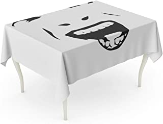 Tarolo Rectangle Tablecloth 60 x 84 Inch Crazy Demonic Ugly Face Devil Scream Character Demon Monster Screaming Open Mouth As Front View Horror Angry Table Cloth