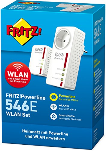 AVM FRITZ!Powerline 546E / 510E WLAN Set / (500 MBit/s, WLAN-Access Point, Fast-Ethernet-LAN, intelligente Steckdose)