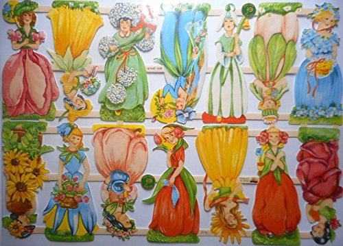 Glanzbilder Tulpe Blume Mädchen EF 7412 Oblate Posiebilder Scrapbook Deko GWI 404