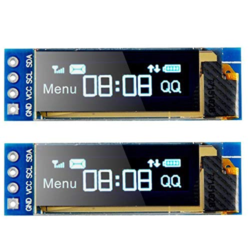I2C OLED Display Module I2C SSD1306 Screen Tiny Module 0.91 Inch Blue 128X32 I2C OLED Driver DC 3.3V to 5V for Arduino (2 Pack)