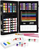COLOUR BLOCK 73pc Mixed Media Wooden Box Art Set I Color Pencils, Acrylic Paints, Watercolor Cakes, Oil Pastels, Paint Brush, and Palette for Kids, Teens, Beginner to Professional Artists
