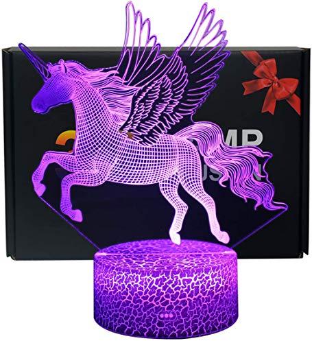 NHSUNRAY Lámpara de ilusión de unicornio 3D,interruptor táctil inteligente que cambia de 7 colores,lámpara de decoración para regalos de Navidad,cumpleaños,San Valentín para amantes [Unicorn B]