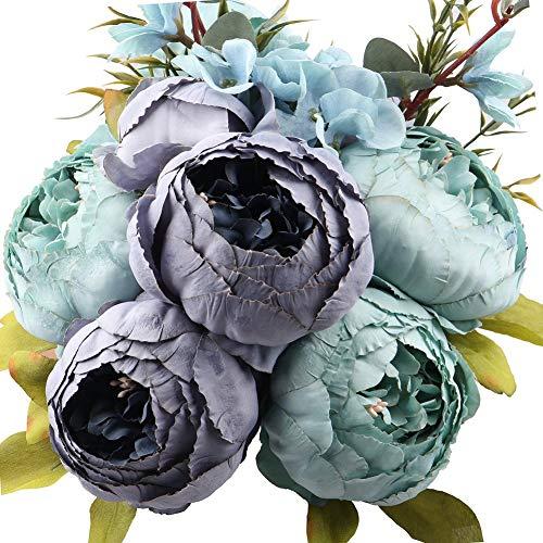 Ksnnrsng Künstliche Blumen Pfingstrose Kunstblumen Seidenblumen Unechte Blumen Seidenpfingstrose Seide Blumenstrauß Jahrgang Hochzeit Zuhause Dekoration (Blau)