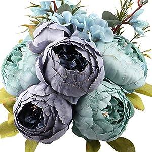 Ksnnrsng Flores Seda Peonía Artificiales para Boda Nupcial Partido Hogar Oficina de la Decoración de DIY (Blanco)