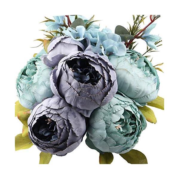 Ksnnrsng Flores Seda Peonía Artificiales para Boda Nupcial Partido Hogar Oficina de la Decoración de DIY (Azul)