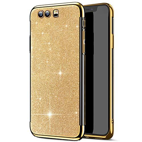 Uposao Coque pour Huawei Honor 9 Placage Métal Coque Glitter de Luxe,Silicone Paillettes Strass Brillante Glitter TPU Ultra Slim Souple Antichoc Protecteur Étui pour Huawei Honor 9,Argent