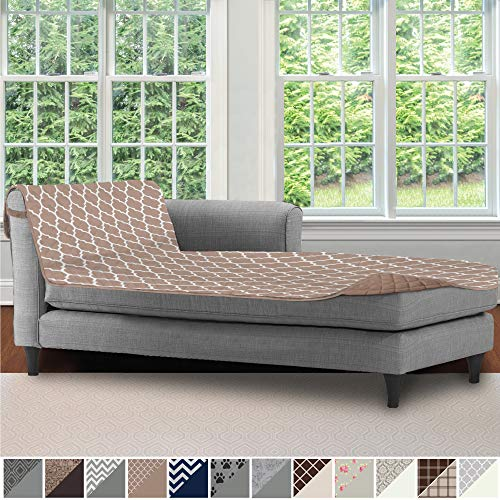 Sofa Shield Original Patent Pending Reversible Sofa Chaise Protector, 102x34 Inch, Washable Furniture Protector, 2 Inch Strap, Chaise Lounge Slip Cover for Pets, Dogs, Kids, Cats, Quatrefoil Mocha