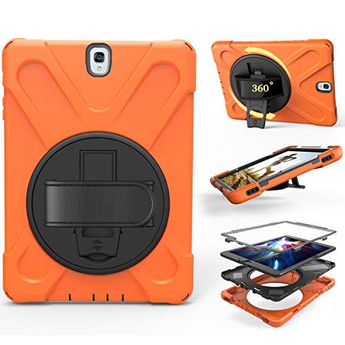 HotsaleUK - Funda protectora de tres capas para Samsung Galaxy Tab S4 10.5 (SM-T830/T835), caucho silicona policarbonato, naranja, Samsung Galaxy Tab S3 9.7'' (SM-T820, SM-T825)