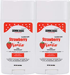 STRAWBERRY + VANILLA Deodorant for Kids Ages 7+Up (2Pack) Fresh Kids deodorant for Girls | 24Hrs Protection| with Moisture Absorption | Teen Spirit