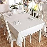 Mantel sólido de algodón de Lino de Navidad, Dobladillo de Encaje Blanco, Empalme, Mantel Lavable para cenas de café, para Banquetes de Bodas, 140 x 240 cm con Encaje