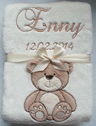 Babydecke mit Namen und Datum bestickt Geschenk Geburt 802001 (Beige mit Teddybär)