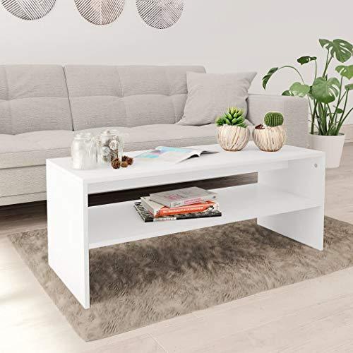 vidaXL Mesa de Centro de Aglomerado Blanca 100x40x40cm Mobiliario Decoración Hogar Diseño Elegante y Lujoso Aspecto Refinado Duradera Resistente