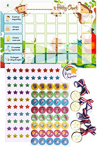 Potty Training Reward Chart - Toilet Training Star Chart for Toddlers Boys & Girls with 140+ Stickers, Reward Medals, Completion Badge by Flair Essentials
