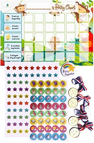 Flair Essentials - Tabla de recompensas de entrenamiento para inodoro para niños pequeños con más de 140 pegatinas, medallas de recompensa, insignia de finalización