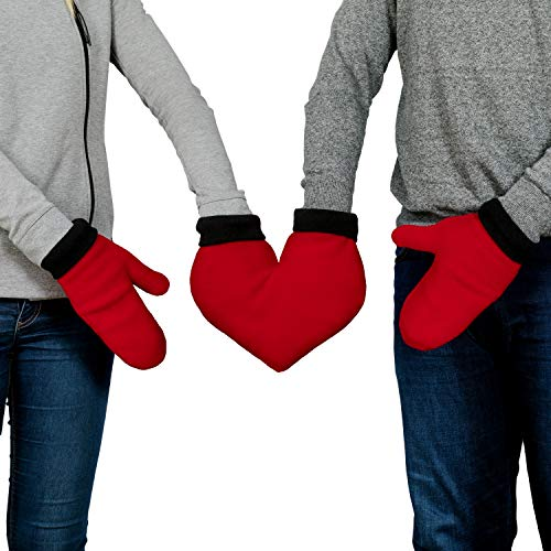 Froster Gants pour les Amoureux, Moufles Polaire, Gants d'hiver Chaud pour Couple, Cadeau pour Saint Valentin, Cadeau de Noël