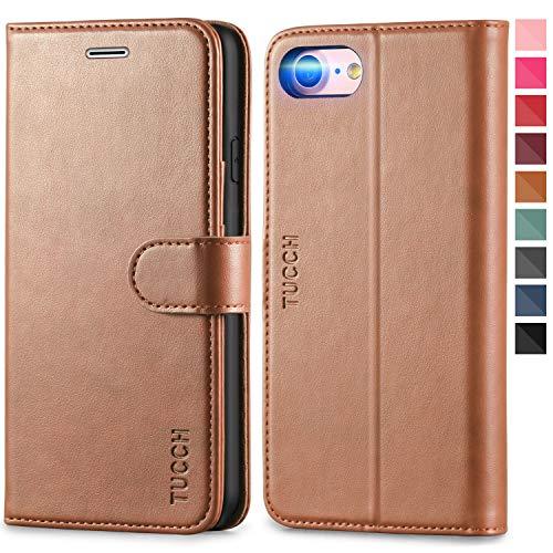TUCCH iPhone 8 Hülle, Stoßfeste Mgnetische Schutzhülle [Verdicktes TPU] [Standfunktion] [Kartenfach] [Lifetime Garantie], Handyhülle Klapphülle Handytasche Kompatibel für iPhone 7/8 4,7 Zoll Braun