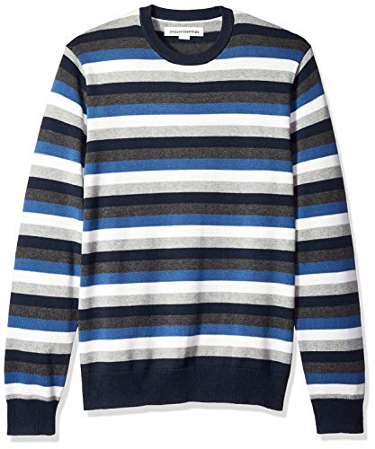 Amazon Essentials Men's Crewneck Stripe Sweater, Blue/Multi Stripe, Medium