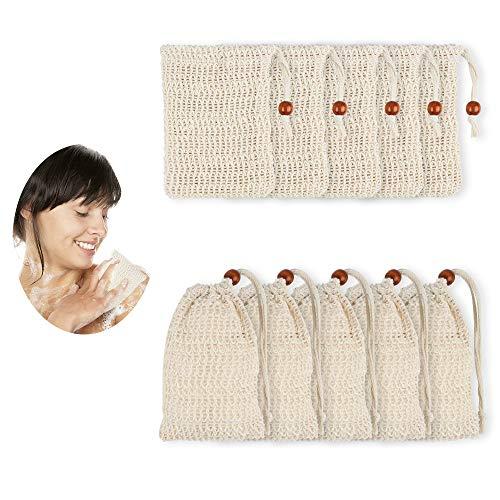 Dadabig 10 Stück Seifensäckchen, Bio Sisal Seifenbeutel aus Natur pflanzliche Sisalfaser mit Kordel Umweltfreundlich Plastikfrei zum Aufschäumen und Trocknen der Seife, Peeling, Massage