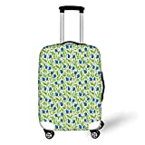 Travel Luggage Cover Suitcase Protector,Fruits,Flowering Blueberry Blossoms Vivid Leaf Branches Nature Plants Design,Violet...