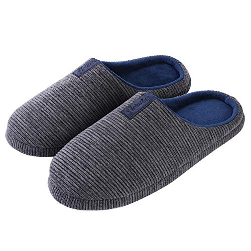 Best Price Center Rib Knit Non Slip Memory Foam Autumn House Slippers (Charcoal, Navy Blue) for Women (Size 12 13) and Men (Size 11 12)