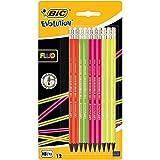 BIC Evolution Fluo Crayons à Papier avec Gomme Intégrée - HB, Blister de 12